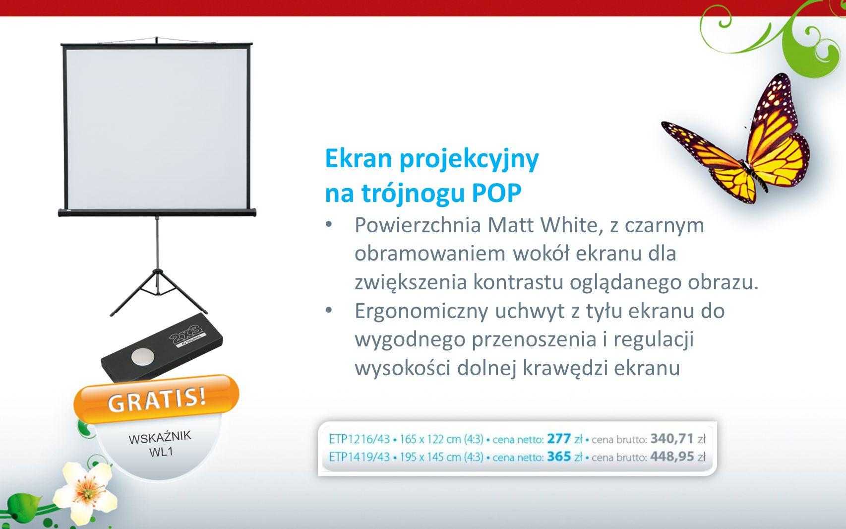 Ekran projekcyjny na trójnogu POP Powierzchnia Matt White, z czarnym obramowaniem wokół ekranu dla zwiększenia kontrastu oglądanego obrazu. Ergonomicz