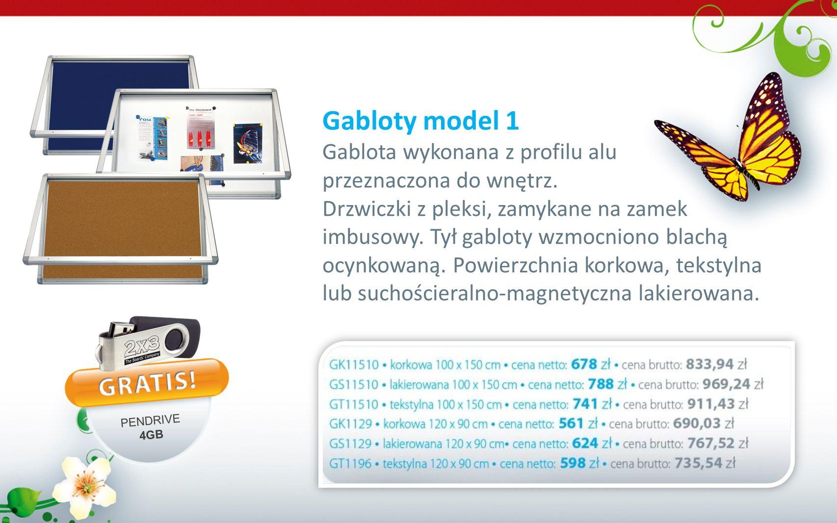 Gabloty model 1 Gablota wykonana z profilu alu przeznaczona do wnętrz. Drzwiczki z pleksi, zamykane na zamek imbusowy. Tył gabloty wzmocniono blachą o