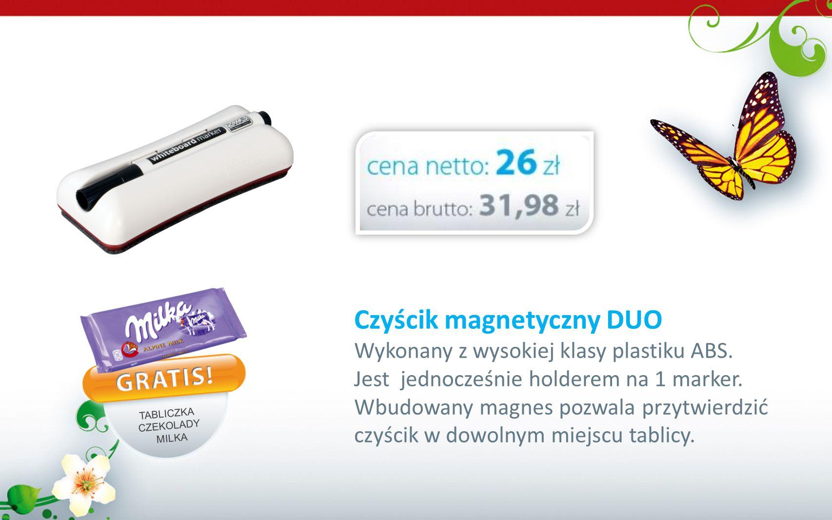 Czyścik magnetyczny DUO Wykonany z wysokiej klasy plastiku ABS. Jest jednocześnie holderem na 1 marker. Wbudowany magnes pozwala przytwierdzić czyścik