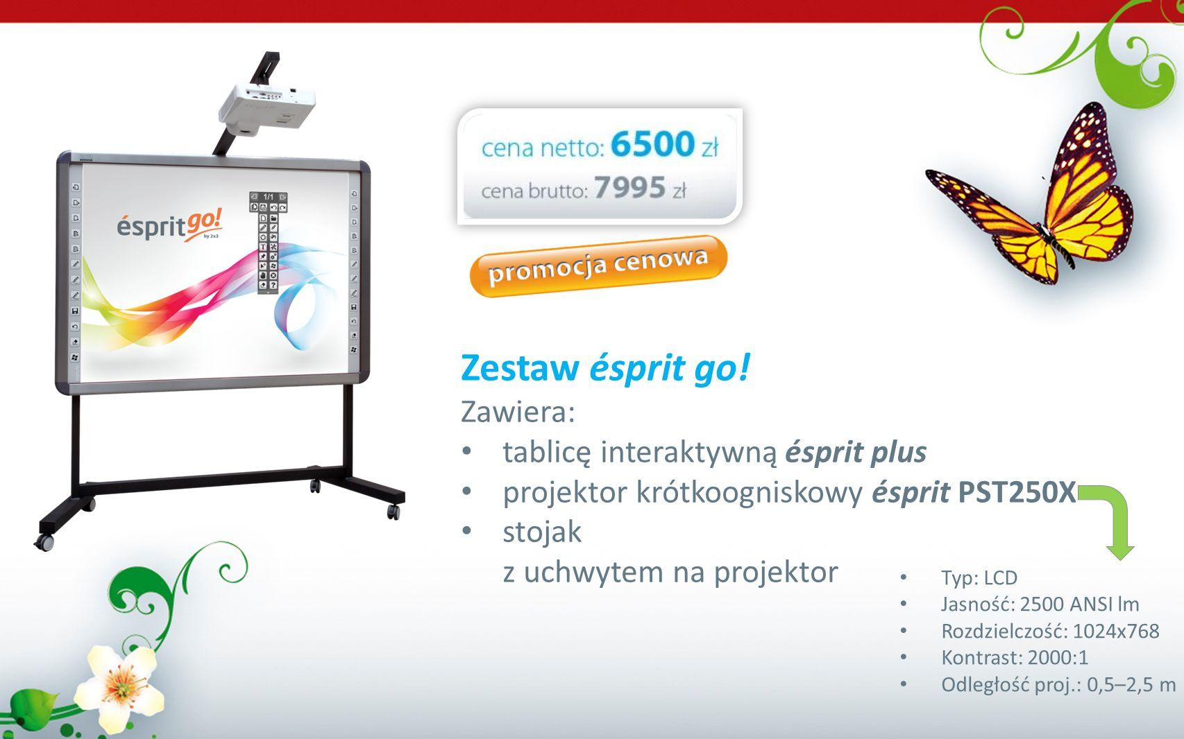 Zestaw ésprit go! Zawiera: tablicę interaktywną ésprit plus projektor krótkoogniskowy ésprit PST250X stojak z uchwytem na projektor Typ: LCD Jasność: