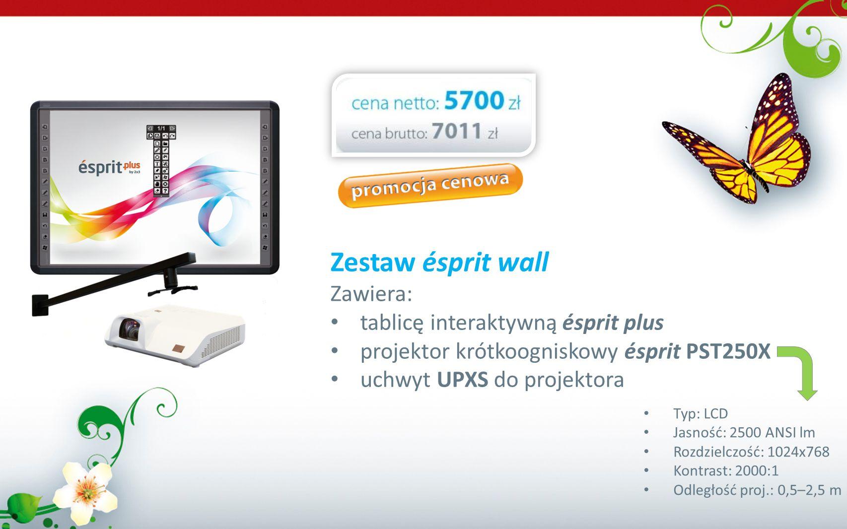 Zestaw ésprit wall Zawiera: tablicę interaktywną ésprit plus projektor krótkoogniskowy ésprit PST250X uchwyt UPXS do projektora Typ: LCD Jasność: 2500