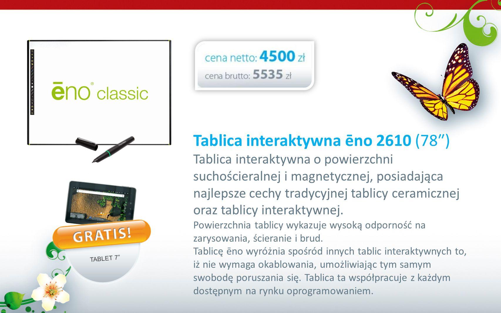 Tablica interaktywna ēno 2610 (78) Tablica interaktywna o powierzchni suchościeralnej i magnetycznej, posiadająca najlepsze cechy tradycyjnej tablicy