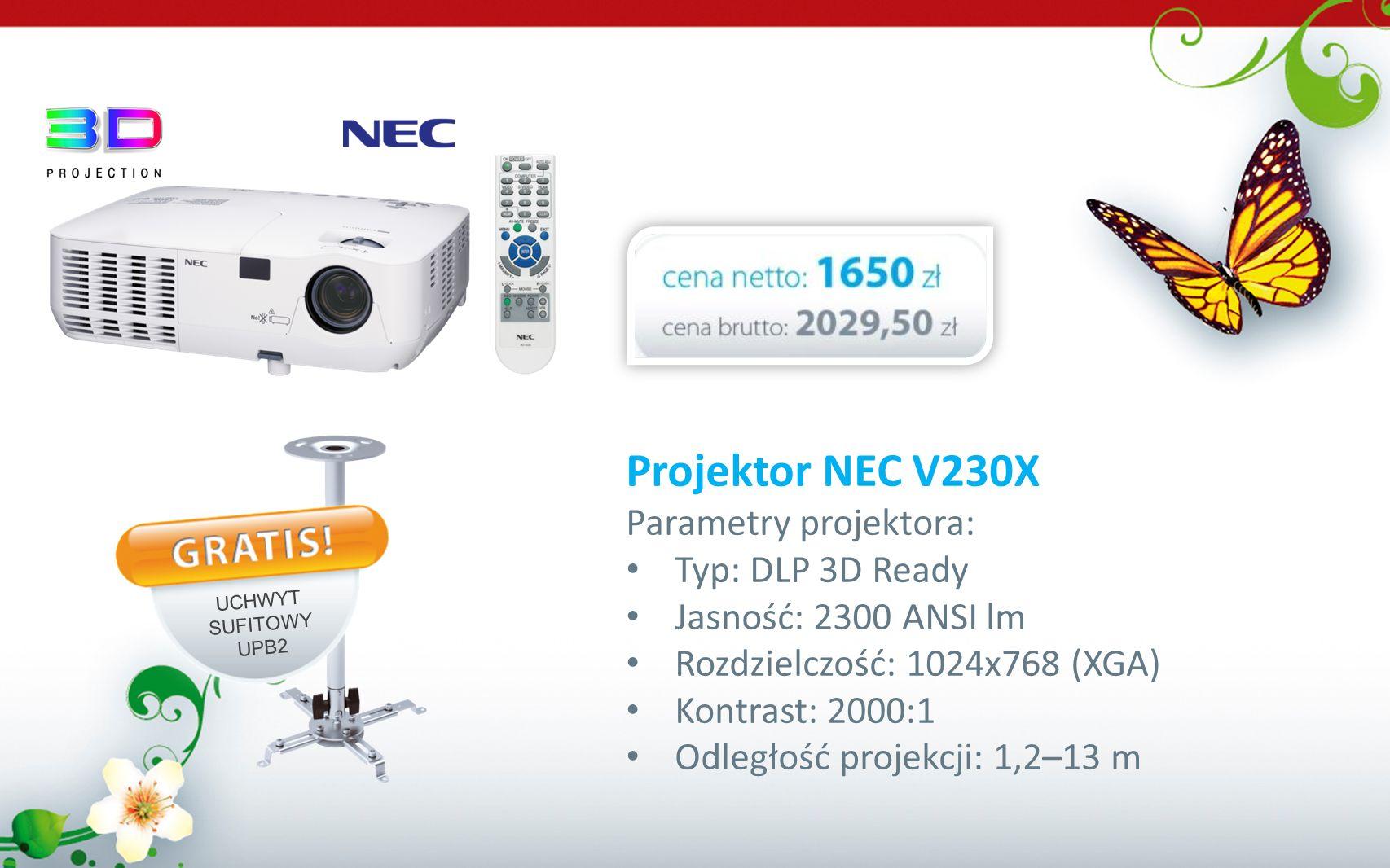 Projektor NEC V230X Parametry projektora: Typ: DLP 3D Ready Jasność: 2300 ANSI lm Rozdzielczość: 1024x768 (XGA) Kontrast: 2000:1 Odległość projekcji: