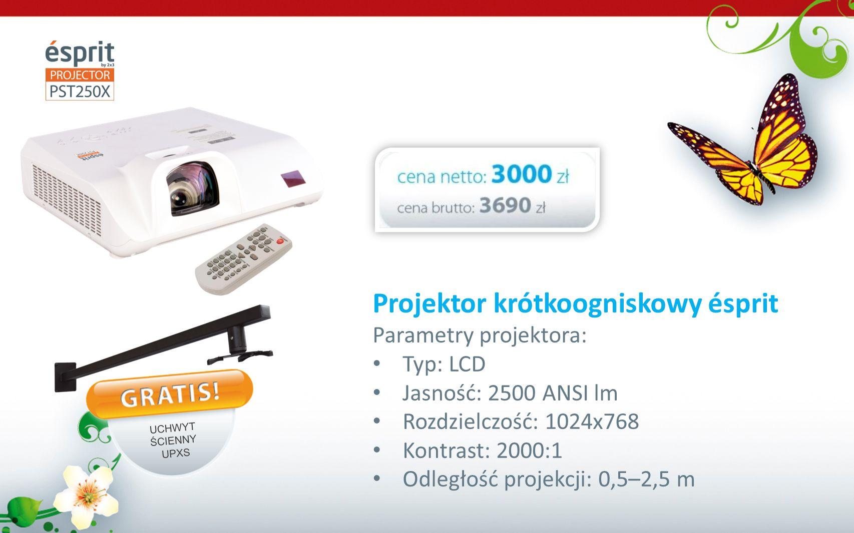 Projektor krótkoogniskowy ésprit Parametry projektora: Typ: LCD Jasność: 2500 ANSI lm Rozdzielczość: 1024x768 Kontrast: 2000:1 Odległość projekcji: 0,