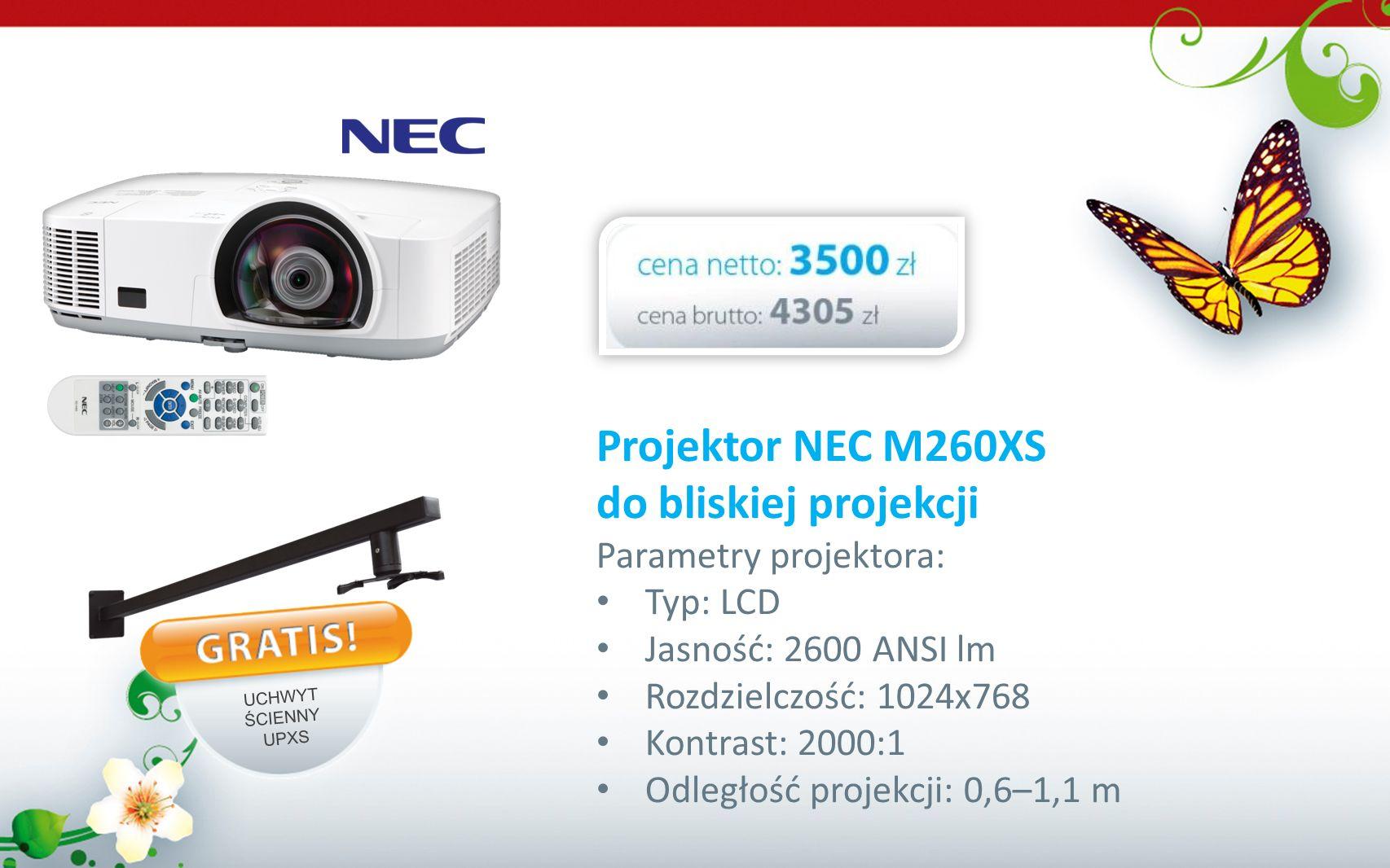 Projektor NEC M260XS do bliskiej projekcji Parametry projektora: Typ: LCD Jasność: 2600 ANSI lm Rozdzielczość: 1024x768 Kontrast: 2000:1 Odległość pro