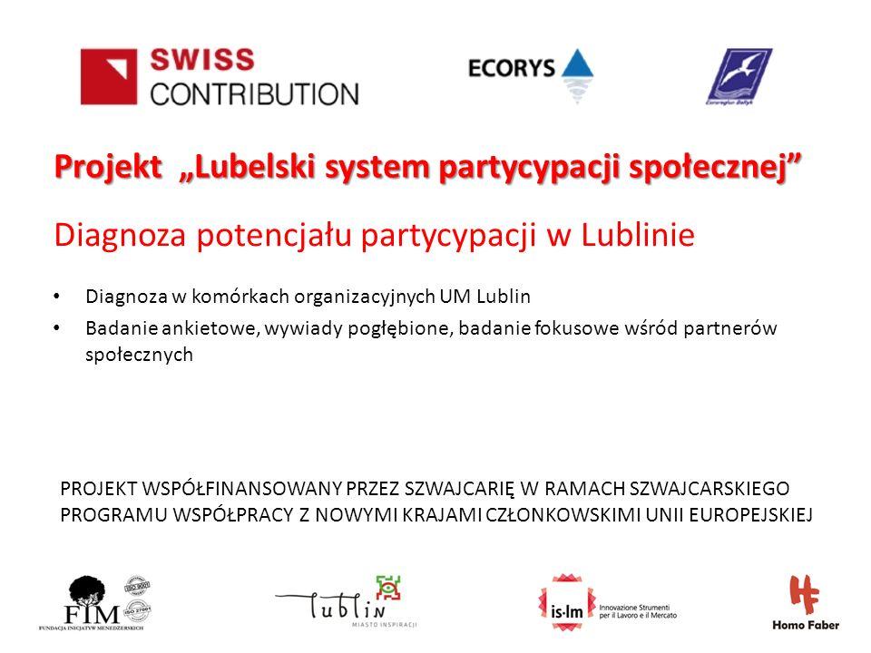 PROJEKT WSPÓŁFINANSOWANY PRZEZ SZWAJCARIĘ W RAMACH SZWAJCARSKIEGO PROGRAMU WSPÓŁPRACY Z NOWYMI KRAJAMI CZŁONKOWSKIMI UNII EUROPEJSKIEJ Projekt Lubelski system partycypacji społecznej Diagnoza potencjału partycypacji w Lublinie Diagnoza w komórkach organizacyjnych UM Lublin Badanie ankietowe, wywiady pogłębione, badanie fokusowe wśród partnerów społecznych