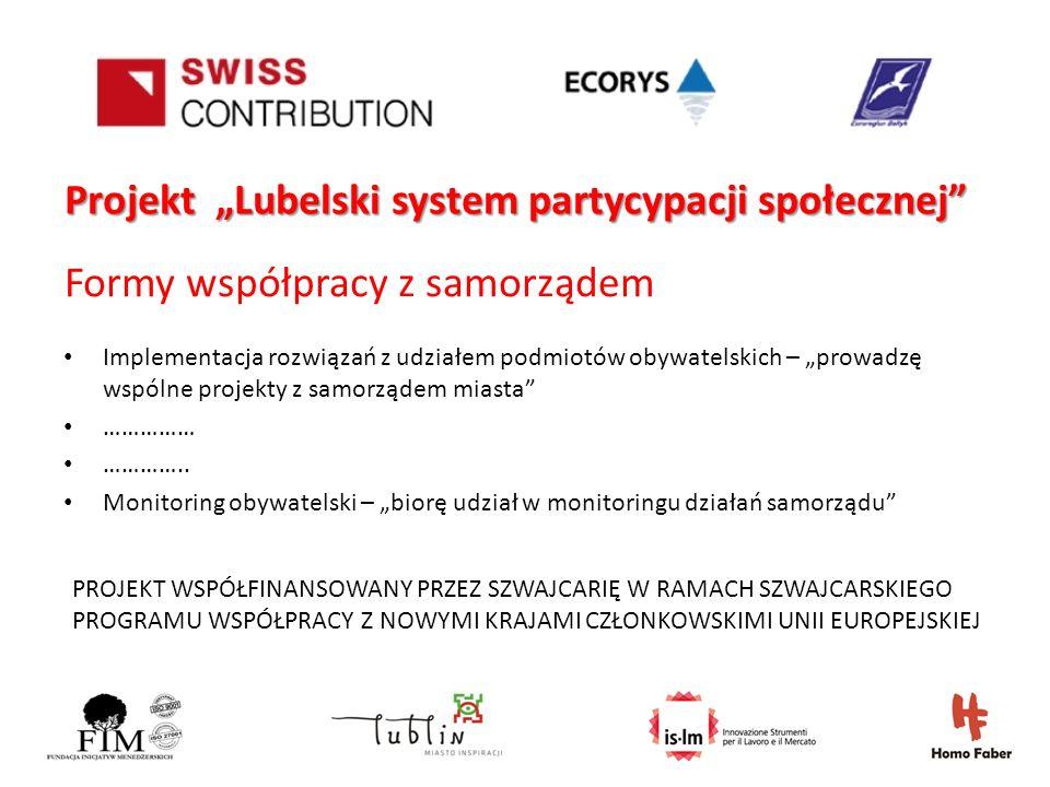 PROJEKT WSPÓŁFINANSOWANY PRZEZ SZWAJCARIĘ W RAMACH SZWAJCARSKIEGO PROGRAMU WSPÓŁPRACY Z NOWYMI KRAJAMI CZŁONKOWSKIMI UNII EUROPEJSKIEJ Projekt Lubelski system partycypacji społecznej Formy współpracy z samorządem Implementacja rozwiązań z udziałem podmiotów obywatelskich – prowadzę wspólne projekty z samorządem miasta …………… …………..