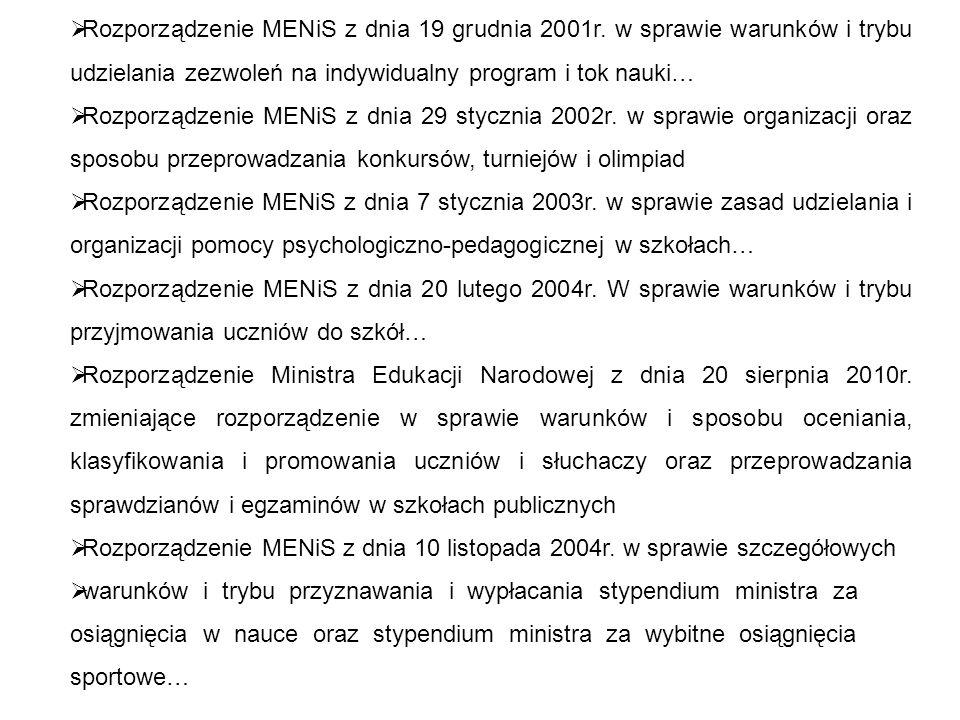Rozporządzenie MENiS z dnia 19 grudnia 2001r.