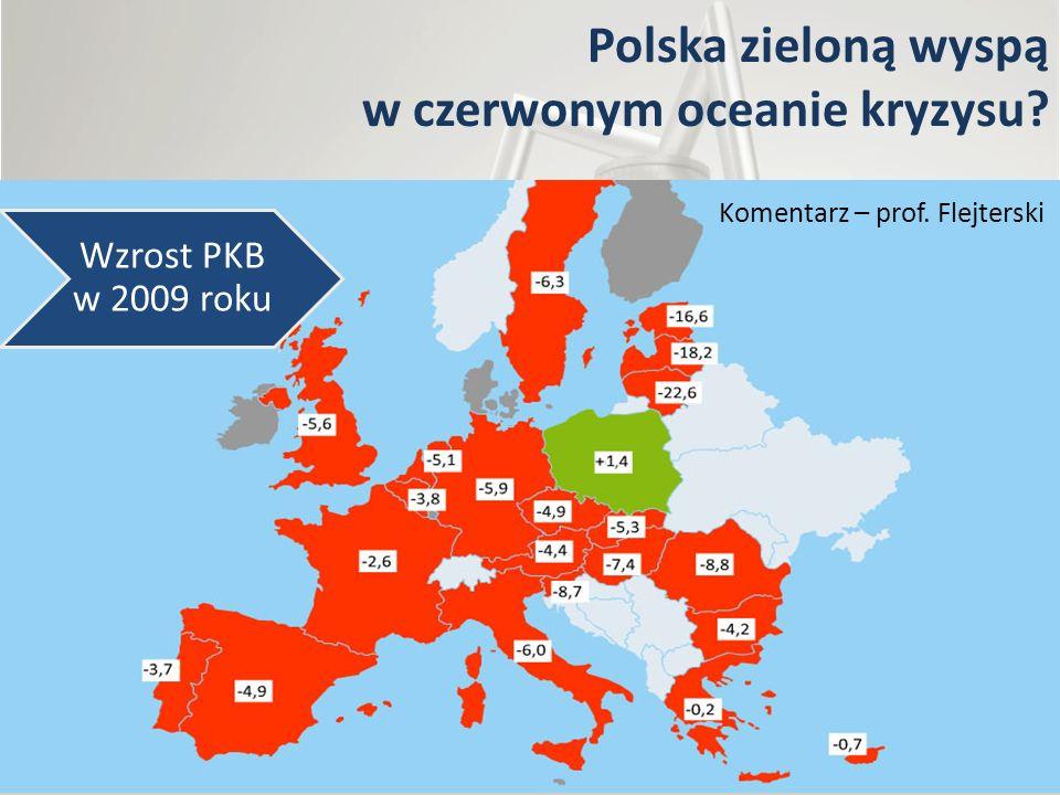 Polska zieloną wyspą w czerwonym oceanie kryzysu? Wzrost PKB w 2009 roku Komentarz – prof. Flejterski