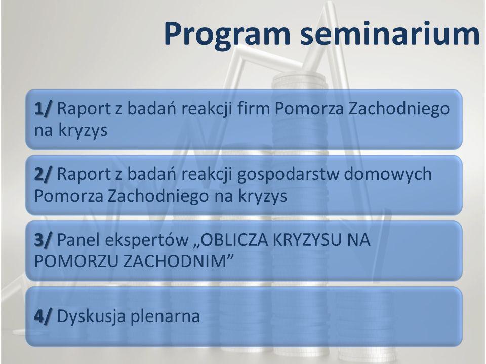 Program seminarium 1/ 1/ Raport z badań reakcji firm Pomorza Zachodniego na kryzys 2/ 2/ Raport z badań reakcji gospodarstw domowych Pomorza Zachodnie