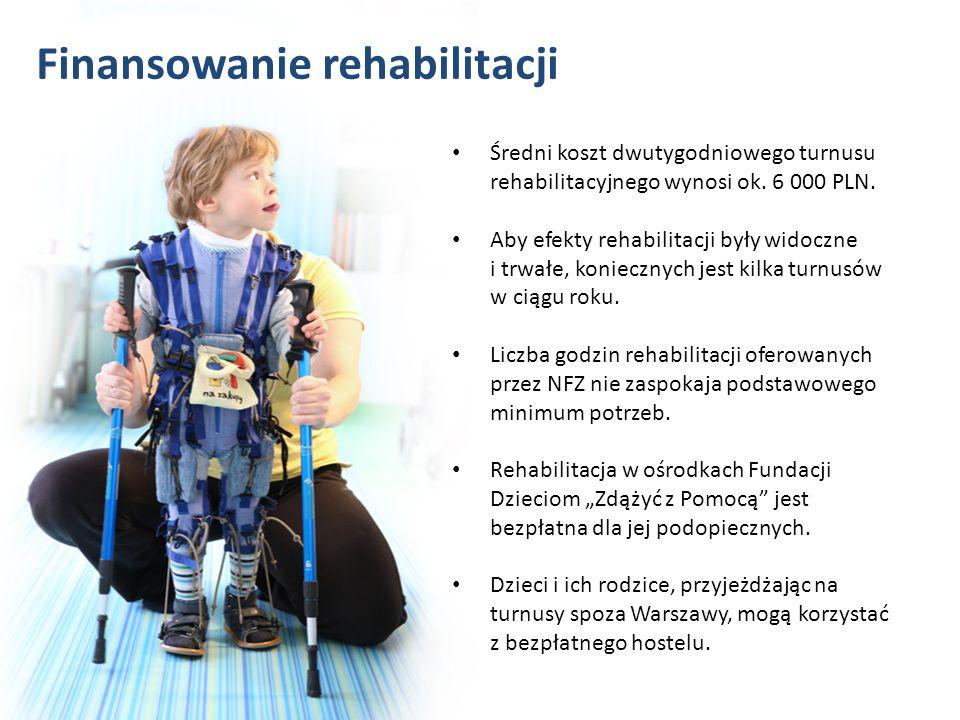 Średni koszt dwutygodniowego turnusu rehabilitacyjnego wynosi ok. 6 000 PLN. Aby efekty rehabilitacji były widoczne i trwałe, koniecznych jest kilka t