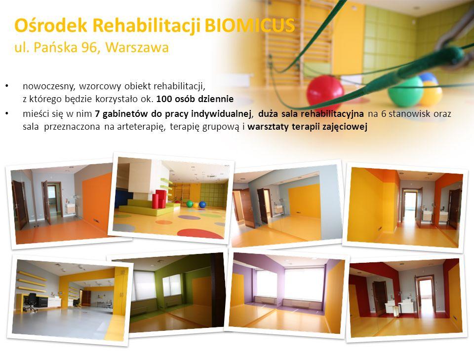 Ośrodek Rehabilitacji BIOMICUS ul. Pańska 96, Warszawa nowoczesny, wzorcowy obiekt rehabilitacji, z którego będzie korzystało ok. 100 osób dziennie mi