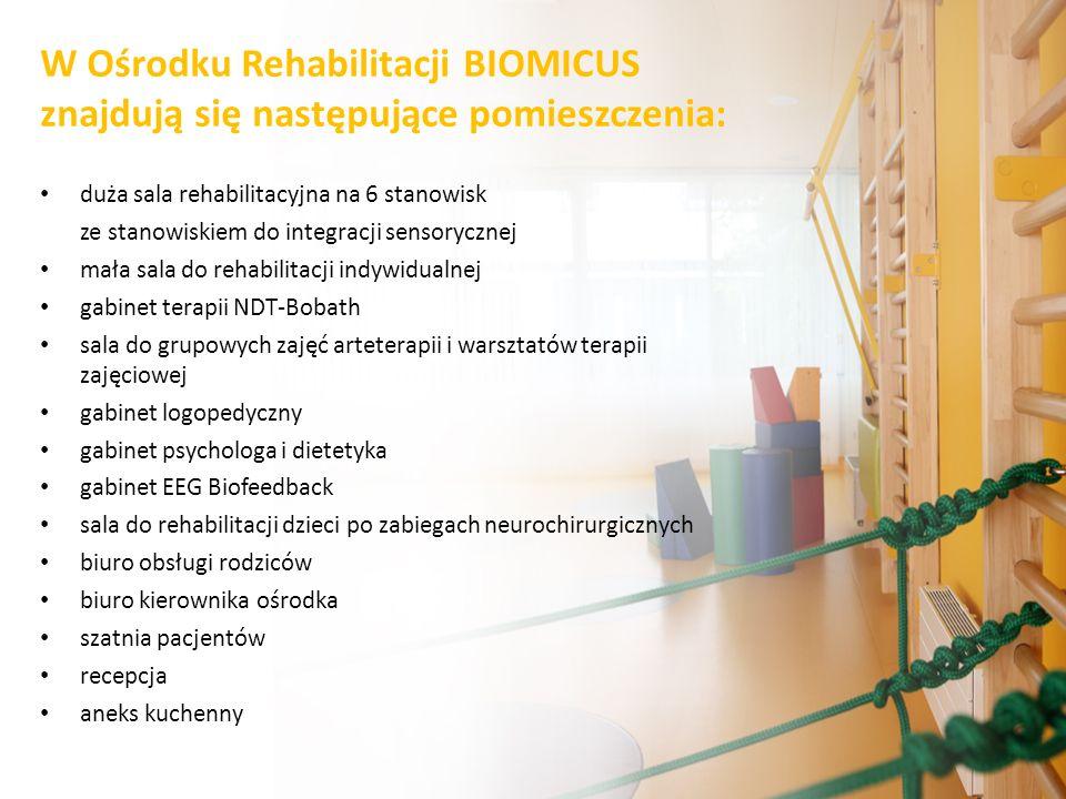 duża sala rehabilitacyjna na 6 stanowisk ze stanowiskiem do integracji sensorycznej mała sala do rehabilitacji indywidualnej gabinet terapii NDT-Bobat