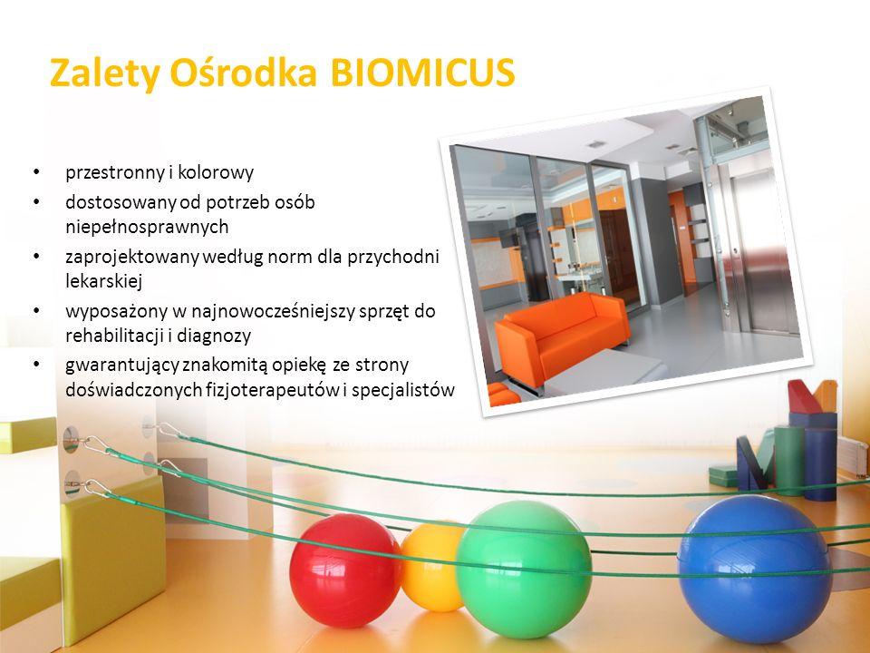 Zalety Ośrodka BIOMICUS przestronny i kolorowy dostosowany od potrzeb osób niepełnosprawnych zaprojektowany według norm dla przychodni lekarskiej wypo