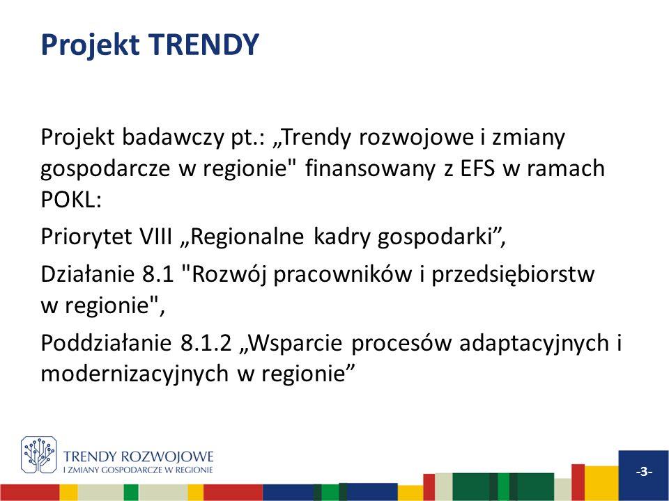 Projekt TRENDY Projekt badawczy pt.: Trendy rozwojowe i zmiany gospodarcze w regionie finansowany z EFS w ramach POKL: Priorytet VIII Regionalne kadry gospodarki, Działanie 8.1 Rozwój pracowników i przedsiębiorstw w regionie , Poddziałanie 8.1.2 Wsparcie procesów adaptacyjnych i modernizacyjnych w regionie -3-