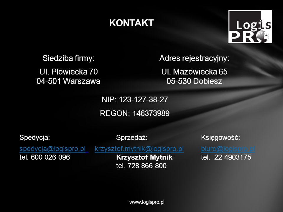 Adres rejestracyjny: Ul. Mazowiecka 65 05-530 Dobiesz NIP: 123-127-38-27 REGON: 146373989 Spedycja:Sprzedaż:Księgowość: spedycja@logispro.pl krzysztof