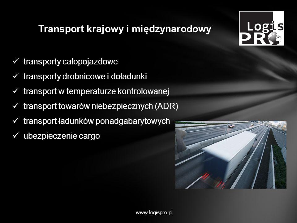 transporty całopojazdowe transporty drobnicowe i doładunki transport w temperaturze kontrolowanej transport towarów niebezpiecznych (ADR) transport ła