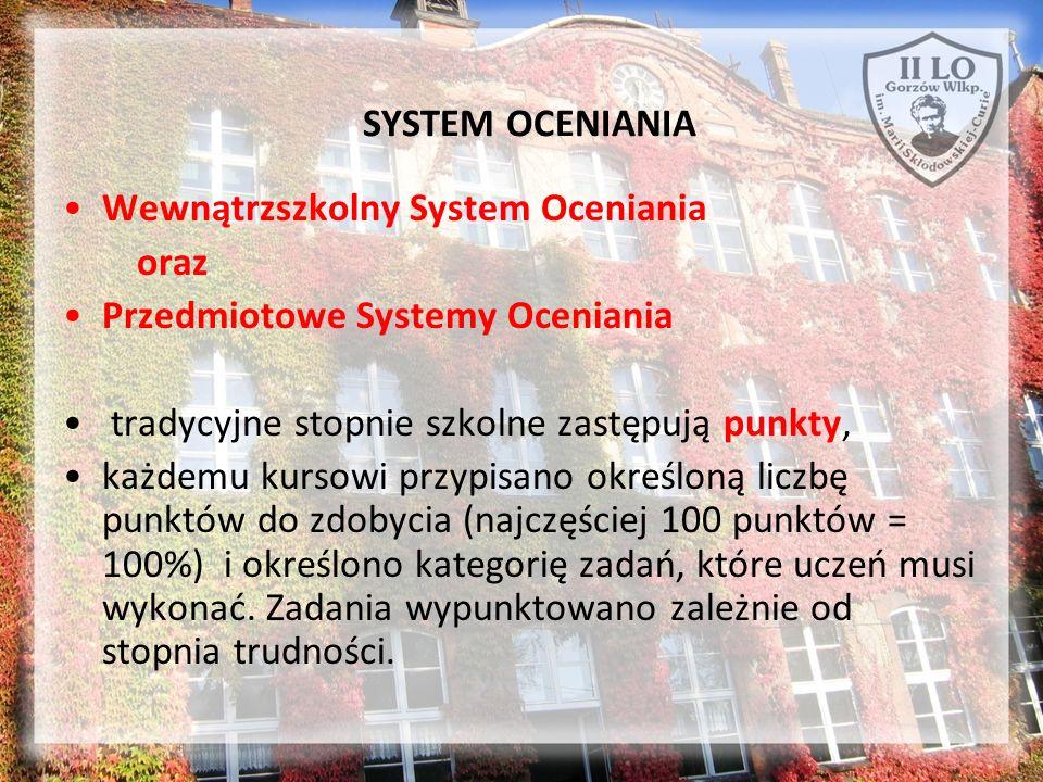 SYSTEM OCENIANIA Wewnątrzszkolny System Oceniania oraz Przedmiotowe Systemy Oceniania tradycyjne stopnie szkolne zastępują punkty, każdemu kursowi prz