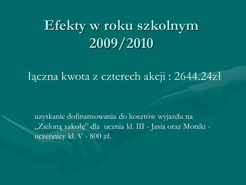 Efekty w roku szkolnym 2009/2010 łączna kwota z czterech akcji : 2644.24zł uzyskanie dofinansowania do kosztów wyjazdu na Zieloną szkołę dla ucznia kl.