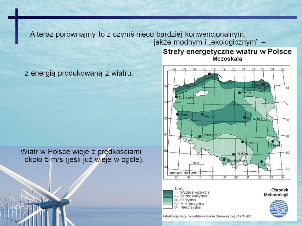 Wiatr w Polsce wieje z prędkościami około 5 m/s (jeśli już wieje w ogóle). A teraz porównajmy to z czymś nieco bardziej konwencjonalnym, jakże modnym