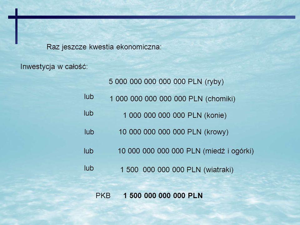 Raz jeszcze kwestia ekonomiczna: Inwestycja w całość: lub10 000 000 000 000 PLN (miedź i ogórki) lub 1 500 000 000 000 PLN (wiatraki) PKB 1 500 000 00