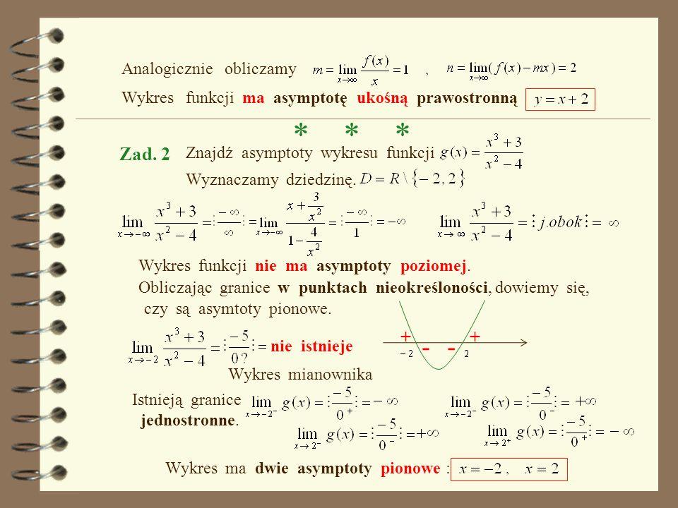 Wyznaczamy dziedzinę. Wykres funkcji nie ma asymptoty poziomej. Wykres funkcji posiada asymptotę pionową Badamy, czy są asymptoty ukośne. Wykres funkc