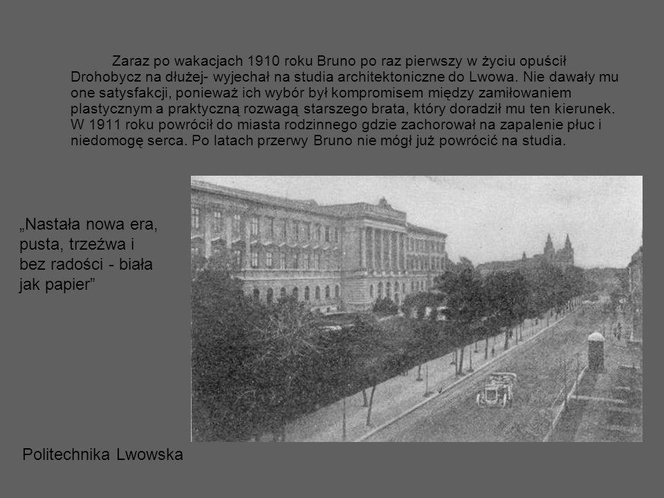 Zaraz po wakacjach 1910 roku Bruno po raz pierwszy w życiu opuścił Drohobycz na dłużej- wyjechał na studia architektoniczne do Lwowa. Nie dawały mu on