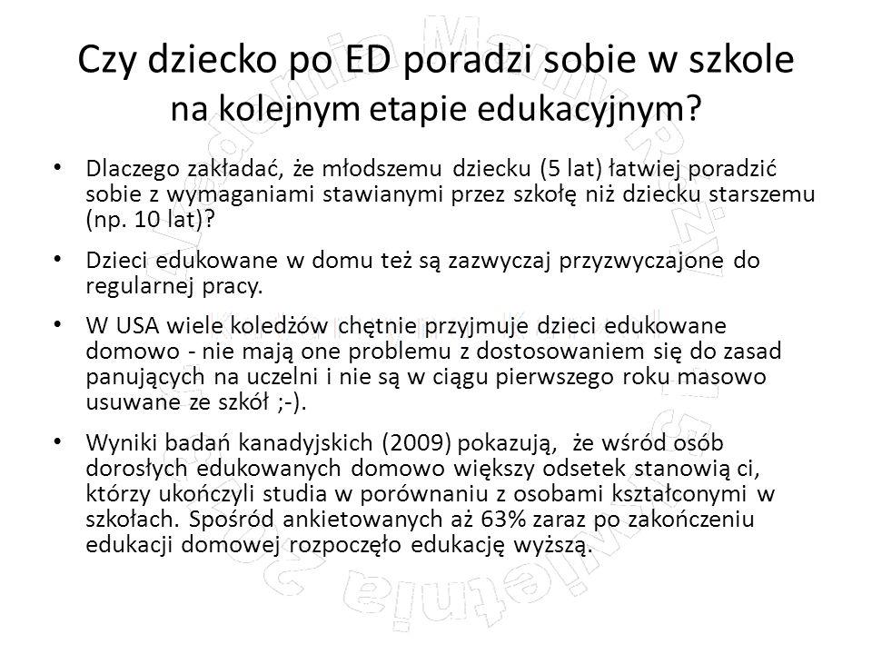 Czy dziecko po ED poradzi sobie w szkole na kolejnym etapie edukacyjnym? Dlaczego zakładać, że młodszemu dziecku (5 lat) łatwiej poradzić sobie z wyma