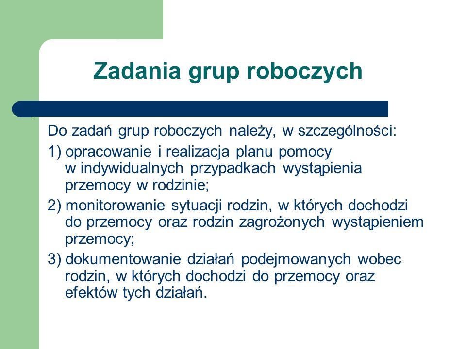 Zadania grup roboczych Do zadań grup roboczych należy, w szczególności: 1) opracowanie i realizacja planu pomocy w indywidualnych przypadkach wystąpie