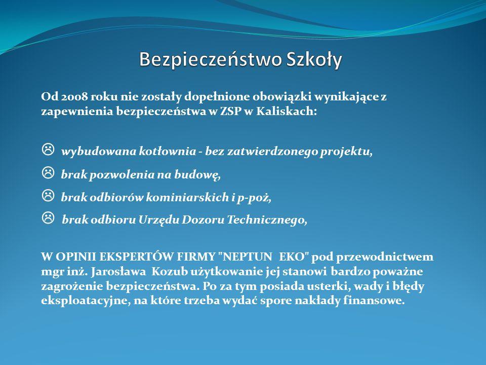 Od 2008 roku nie zostały dopełnione obowiązki wynikające z zapewnienia bezpieczeństwa w ZSP w Kaliskach: wybudowana kotłownia - bez zatwierdzonego pro