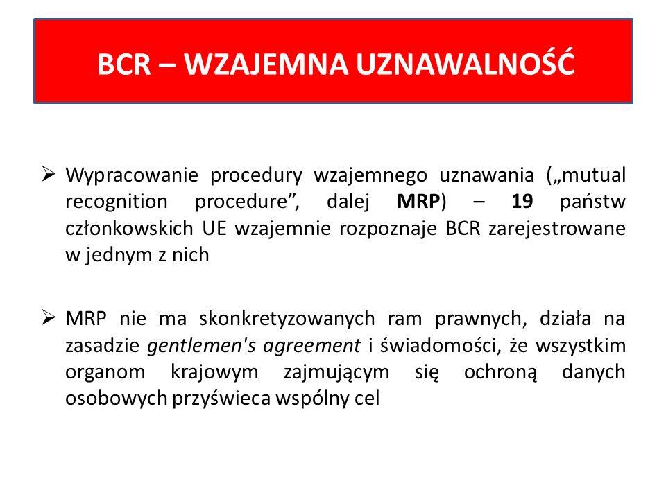 Wypracowanie procedury wzajemnego uznawania (mutual recognition procedure, dalej MRP) – 19 państw członkowskich UE wzajemnie rozpoznaje BCR zarejestro