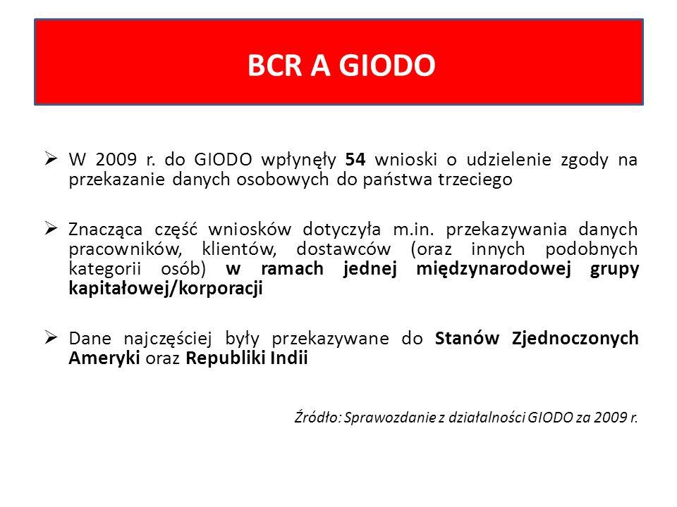 W 2009 r. do GIODO wpłynęły 54 wnioski o udzielenie zgody na przekazanie danych osobowych do państwa trzeciego Znacząca część wniosków dotyczyła m.in.