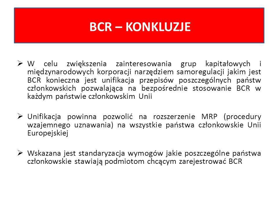 W celu zwiększenia zainteresowania grup kapitałowych i międzynarodowych korporacji narzędziem samoregulacji jakim jest BCR konieczna jest unifikacja p