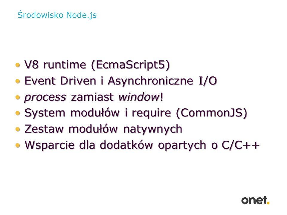 File system var fs = require( fs ); //synchronicznie var content = fs.readFileSync( example.txt ); //asynchronicznie fs.readFile( example.txt , function (err, data) { if (err) throw err; console.log(data); });