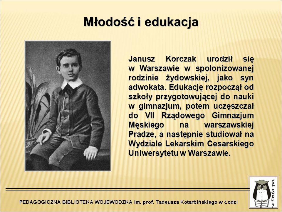Młodość i edukacja Janusz Korczak urodził się w Warszawie w spolonizowanej rodzinie żydowskiej, jako syn adwokata. Edukację rozpoczął od szkoły przygo