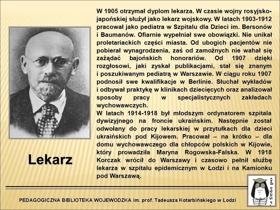 Lekarz W 1905 otrzymał dyplom lekarza. W czasie wojny rosyjsko- japońskiej służył jako lekarz wojskowy. W latach 1903-1912 pracował jako pediatra w Sz
