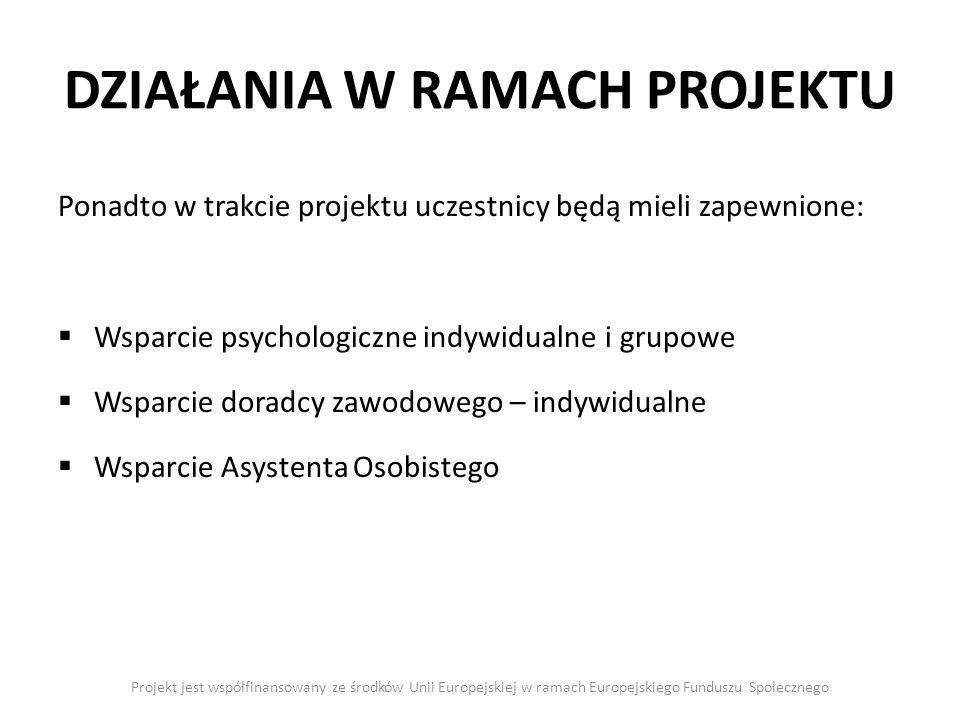 DZIAŁANIA W RAMACH PROJEKTU Projekt jest współfinansowany ze środków Unii Europejskiej w ramach Europejskiego Funduszu Społecznego Ponadto w trakcie projektu uczestnicy będą mieli zapewnione: Wsparcie psychologiczne indywidualne i grupowe Wsparcie doradcy zawodowego – indywidualne Wsparcie Asystenta Osobistego