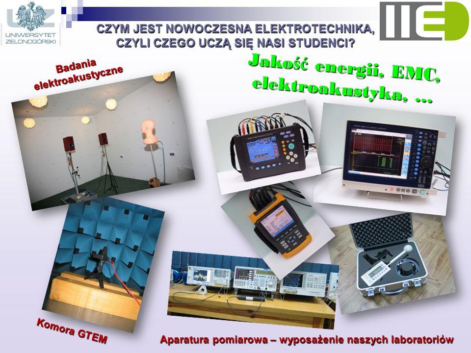 CZYM JEST NOWOCZESNA ELEKTROTECHNIKA, CZYLI CZEGO UCZĄ SIĘ NASI STUDENCI? Jako ść energii, EMC, elektroakustyka, … Badania elektroakustyczne Aparatura