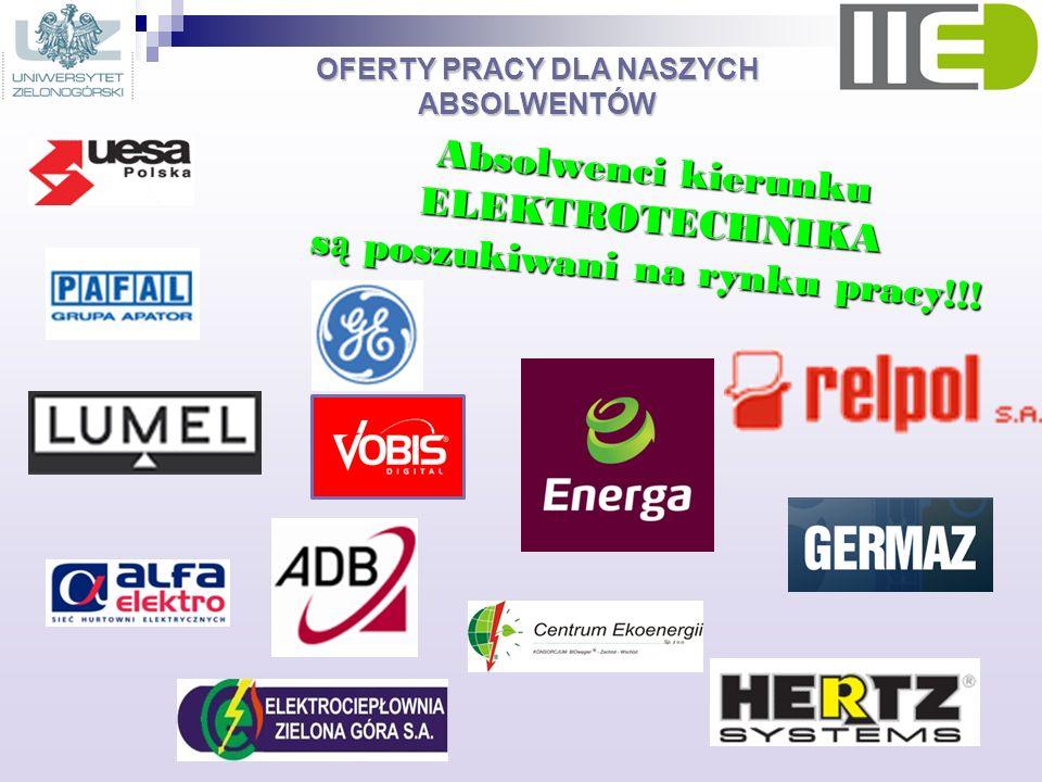 OFERTY PRACY DLA NASZYCH ABSOLWENTÓW Absolwenci kierunku ELEKTROTECHNIKA s ą poszukiwani na rynku pracy!!!