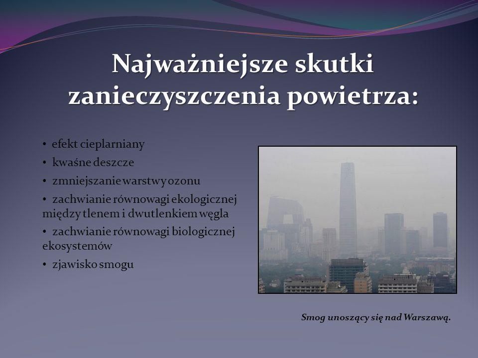 efekt cieplarniany kwaśne deszcze zmniejszanie warstwy ozonu zachwianie równowagi ekologicznej między tlenem i dwutlenkiem węgla zachwianie równowagi biologicznej ekosystemów zjawisko smogu Najważniejsze skutki zanieczyszczenia powietrza: Smog unoszący się nad Warszawą.