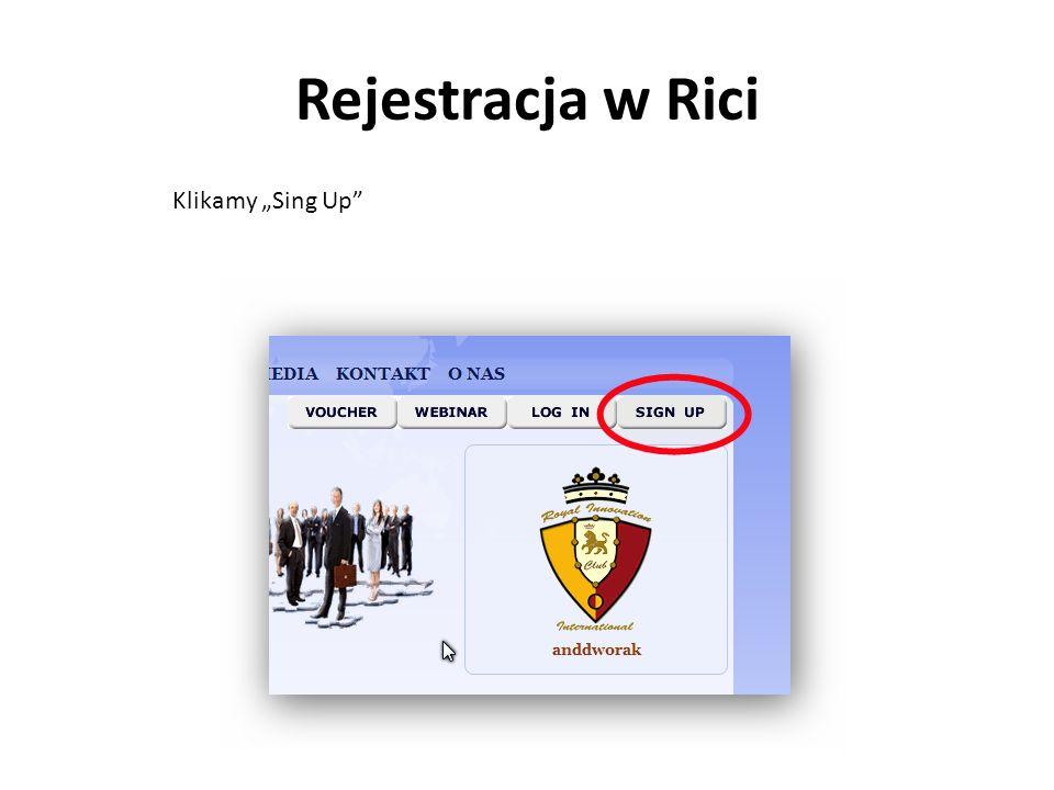 Rejestracja w Rici Klikamy Sing Up