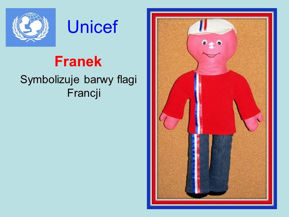 Unicef Franek Symbolizuje barwy flagi Francji