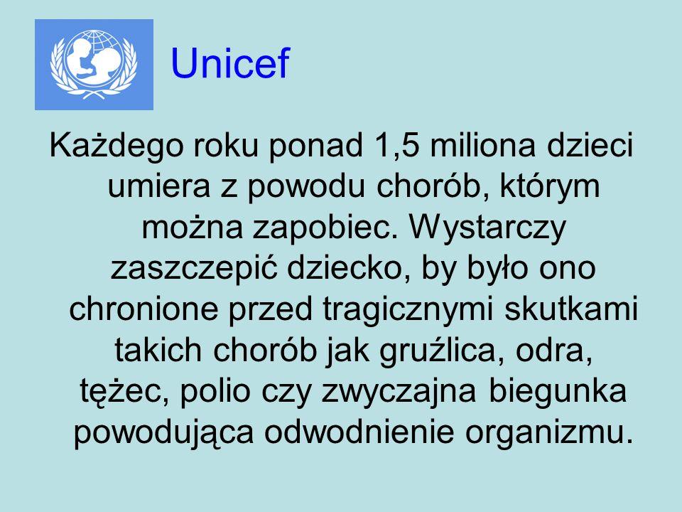 Unicef Każdego roku ponad 1,5 miliona dzieci umiera z powodu chorób, którym można zapobiec. Wystarczy zaszczepić dziecko, by było ono chronione przed