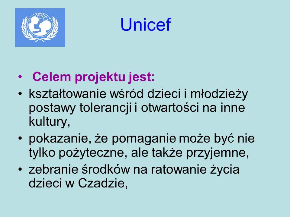 Unicef Celem projektu jest: kształtowanie wśród dzieci i młodzieży postawy tolerancji i otwartości na inne kultury, pokazanie, że pomaganie może być n