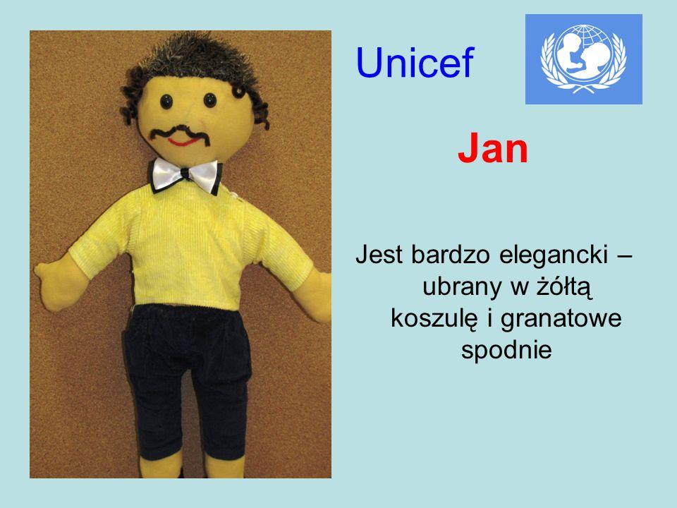 Unicef Jan Jest bardzo elegancki – ubrany w żółtą koszulę i granatowe spodnie