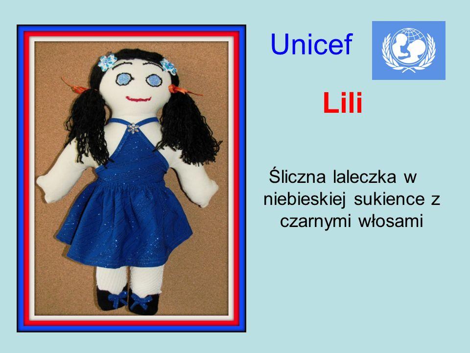 Unicef Lili Śliczna laleczka w niebieskiej sukience z czarnymi włosami