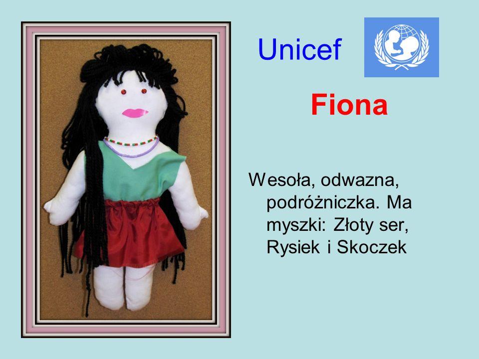 Fiona Wesoła, odwazna, podróżniczka. Ma myszki: Złoty ser, Rysiek i Skoczek Unicef
