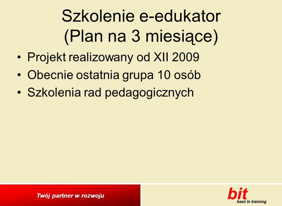 Twój partner w rozwoju Szkolenie e-edukator (Plan na 3 miesiące) Projekt realizowany od XII 2009 Obecnie ostatnia grupa 10 osób Szkolenia rad pedagogicznych