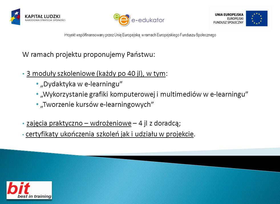 W ramach projektu proponujemy Państwu: 3 moduły szkoleniowe (każdy po 40 jl), w tym: Dydaktyka w e-learningu Wykorzystanie grafiki komputerowej i multimediów w e-learningu Tworzenie kursów e-learningowych zajęcia praktyczno – wdrożeniowe – 4 jl z doradcą; certyfikaty ukończenia szkoleń jak i udziału w projekcie.