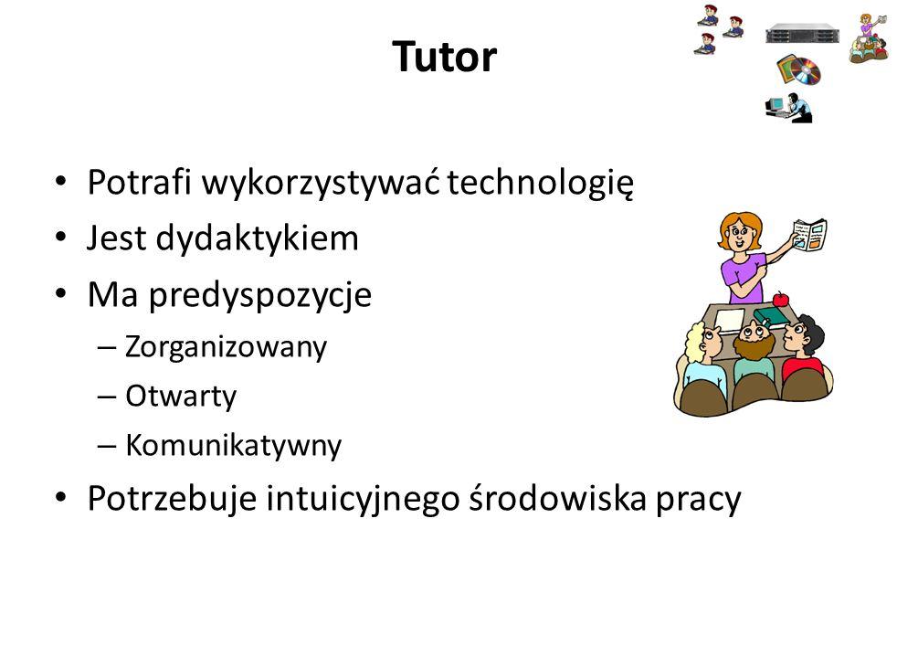 Tutor Potrafi wykorzystywać technologię Jest dydaktykiem Ma predyspozycje – Zorganizowany – Otwarty – Komunikatywny Potrzebuje intuicyjnego środowiska pracy